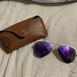 Dark purple ray ban aviator flash sunglasses